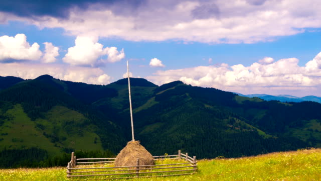 Summer Mountains Landscape with Haystack and Clouds. video