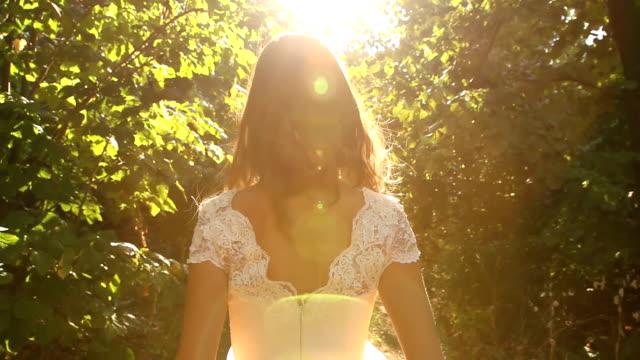 Summer Nature Girl Vintage Dress Walking Sunlight Forest video