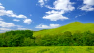 Summer nature landscape, green hills of Tuscany, Italy, time-lapse. video