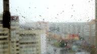 Summer rain pounding on the glass. Freshness. video