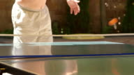 Summer recreation activity players playing outdoor table tennis in the yard video
