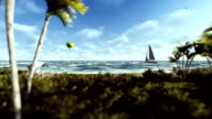 Summer time, people on the beach, air balloon and yacht sailing video