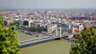 Summer view of Elisabeth Bridge across Danube, Budapest video