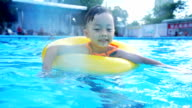 Summertime and swimming activities for happy children on the pool video