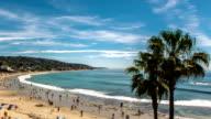 Summertime Beach Crowds, Laguna Beach, California - Camera Pan Left video