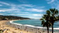Summertime Beach Crowds, Laguna Beach, California - Camera Pan Right video