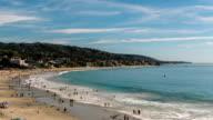 Summertime Beach Crowds, Laguna Beach, California - Camera Tilt Up video