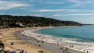 Summertime Beach Crowds, Laguna Beach, California - Camera Zoom In video