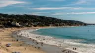 Summertime Beach Crowds, Laguna Beach, California - Camera Zoom Out video