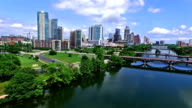 Summertime Bliss Over Town Lake Backing away from Austin, Texas Downtown video