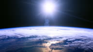 Sun above planet earth. video
