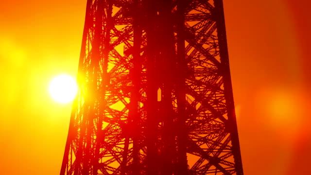 Sun Behind The Eiffel Tower In Paris video