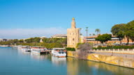 sun light river panorama torre del oro seville sunny day 4k time lapse spain video
