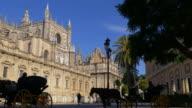 sun light seville city main cathedral 4k spain video