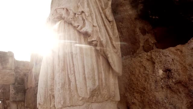 POV sun looks out antique statue ancient town Salamis east Cyprus Famagusta video