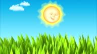 Sun & moon. Day and night animation. Wind in grass. video