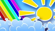 sun rainbow and clouds in sky loop animation luma matte video