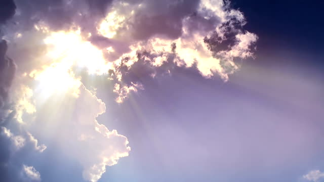 Sun ray from the edge of cloud video