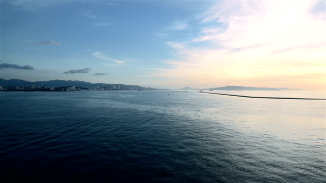 Sun Reflecting off Pretty Ocean Waves with Beautiful Clouds in Sky - Around Sunset/sunrise video