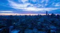Sun rising over Bangkok city skyline video