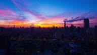 Sun rising over Bangkok video