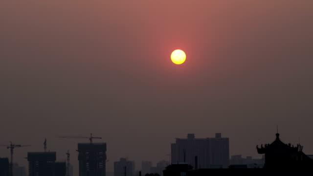 sun set at city wall video