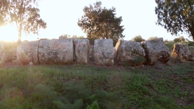 Sun shines on broken huge column of Temple of Zeus  ruins antique town Salamis east Cyprus Famagusta video