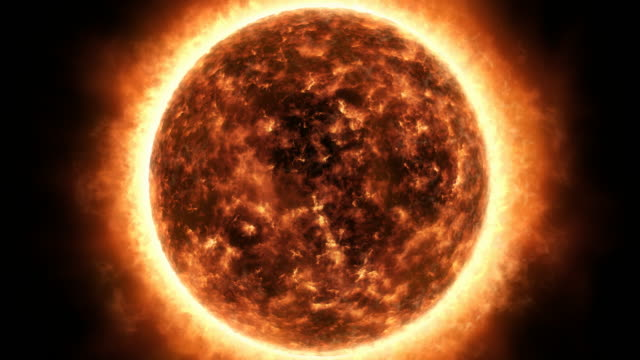 Sun surface and solar flares animation video