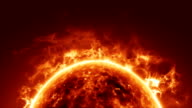 Sun surface and solar flares video