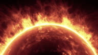 Sun surface with solar flares. Abstract scientific background. video