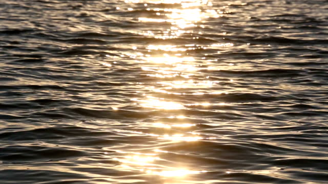 Sun Track Sparks on Sunset Lake Surface. video
