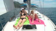 HD: Sunbathing On A Sailboat video