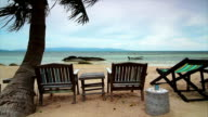 Sunbeds on the beach,Crane shot video