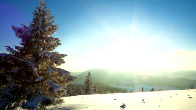 Sundown time lapse in winter mountain video
