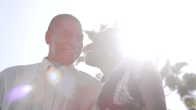 Sunlight Afro American Couple Close Up video