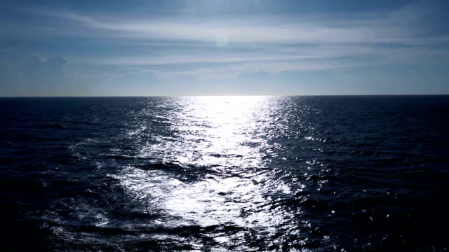 Sunlight Reflecting off ripple sea water with Beautiful Clouds in Sky video