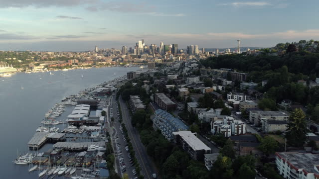Sunny Aerial of Lake Union and Seattle City Skyline with Skyscraper Buildings video