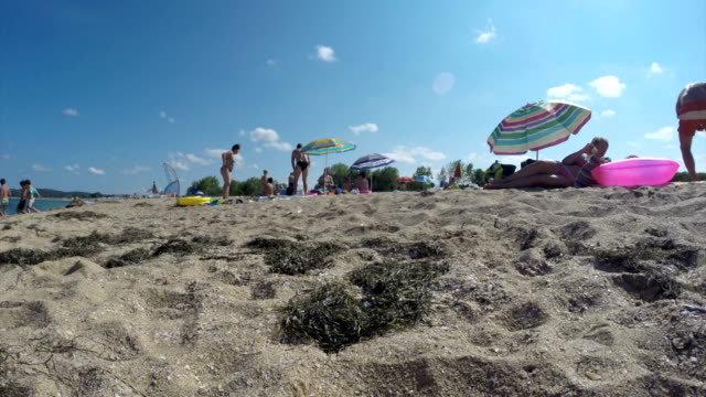 Sunny beach time lapse panorama video
