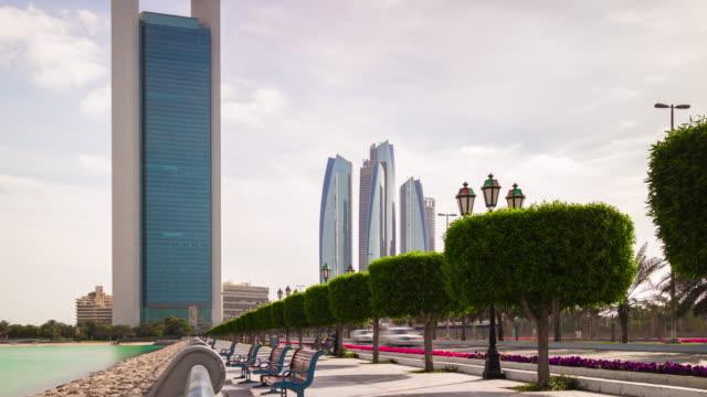 sunny day abu dhabi city walking bay downtown bridge panorama 4k time lapse uae video