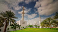 sunny day abu dhabi world famous white mosque 4k time lapse united arab emirates video