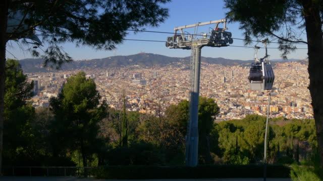 sunny day barcelona funicular line panorama 4k spain video