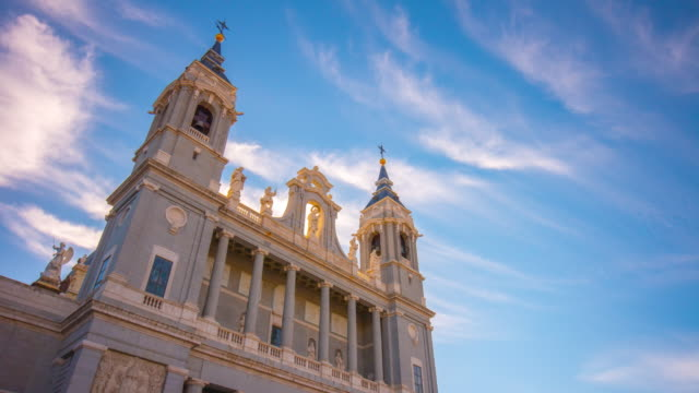 sunny day blue sky almudena cathedral top view 4k time lapse spain video