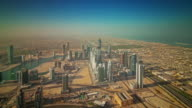 sunny day dubai city industrial part roof top panorama 4k time lapse united arab emirates video