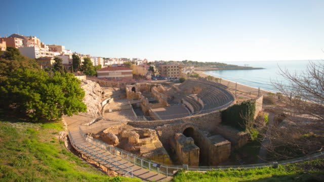 sunny day tarragona amphitheatre panorama 4k time lapse spain video
