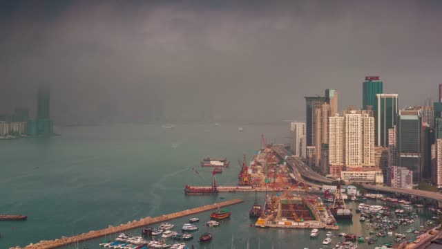 sunny fog working day port 4k time lapse from hong kong city roof video