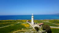 sunny landscape. yellow flowers and the lighthouse video