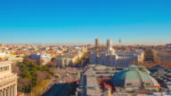 sunny madrid city placa de la cibeles panoramic view from the roof 4k time lapse video