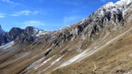 Sunny mountain landscape. Panorama video