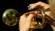 Sunny trumpet. POV. video
