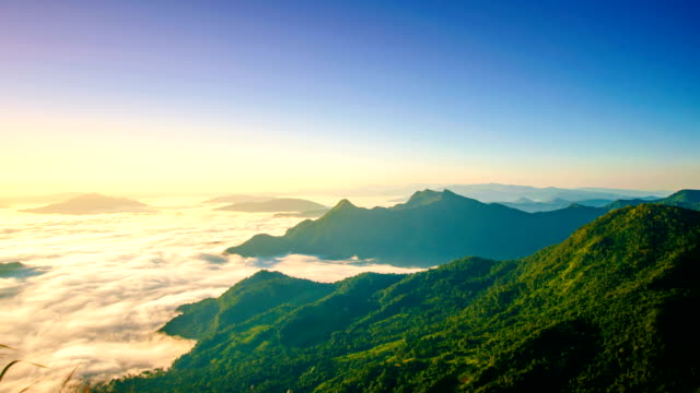 Sunrise and mist on mountain at the north thailand video
